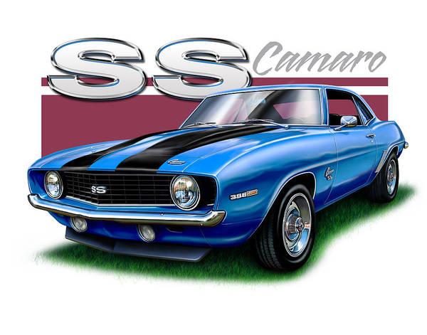 Chevy Wall Art - Digital Art - 69 Camaro Ss In Blue by David Kyte