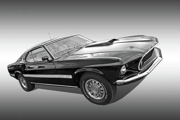 Photograph - 69 Mach1 In Black And White by Gill Billington