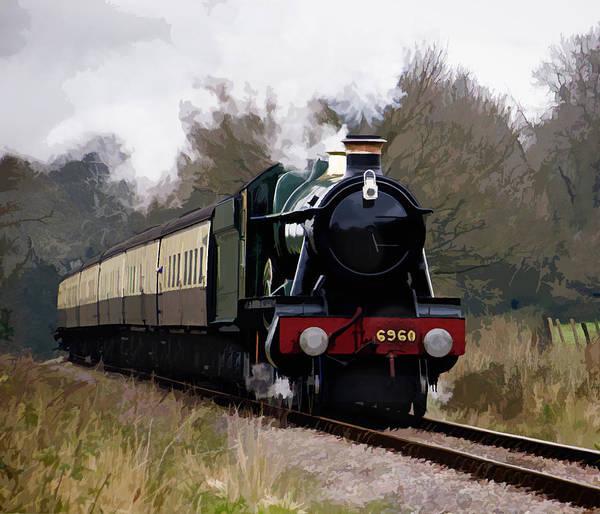 Vintage Railroad Painting - 6960 Ravengham Hall Steam Locomotive by Elaine Plesser