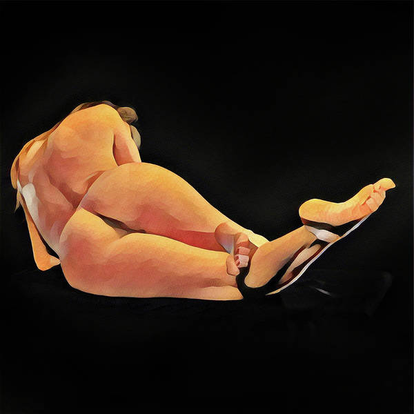 Digital Art - 6992s-amg Watercolor Of Nude Woman Rear View Feet Up by Chris Maher