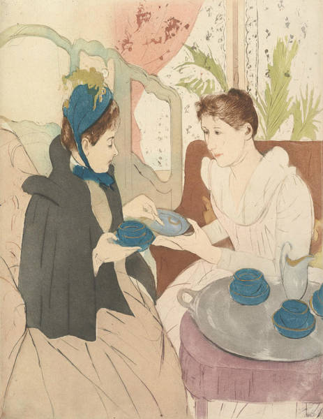 Relief - Afternoon Tea Party by Mary Cassatt