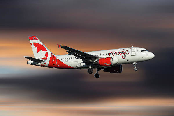 Wall Art - Mixed Media - Air Canada Rouge Airbus A319-114 by Smart Aviation