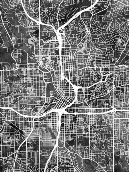 Streets Digital Art - Atlanta Georgia City Map by Michael Tompsett
