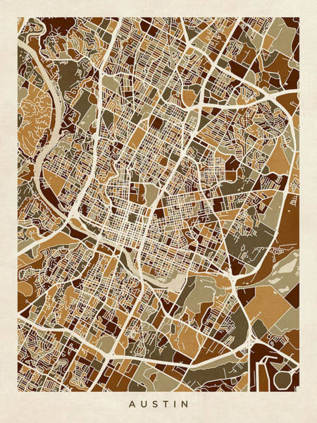 Portland Digital Art - Austin Texas City Map by Michael Tompsett