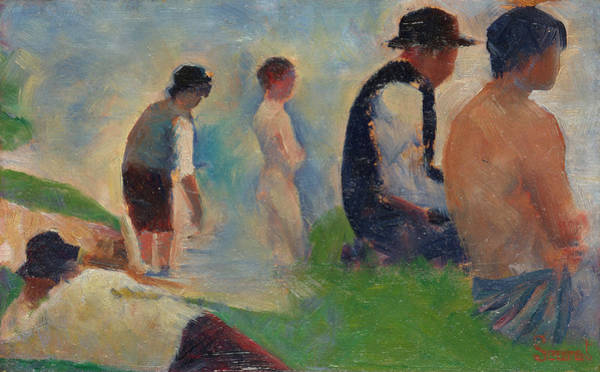 Waterway Painting - Bathers At Asnieres by Georges Seurat