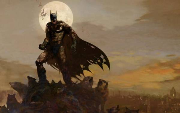 Sunset Digital Art - Batman by Maye Loeser