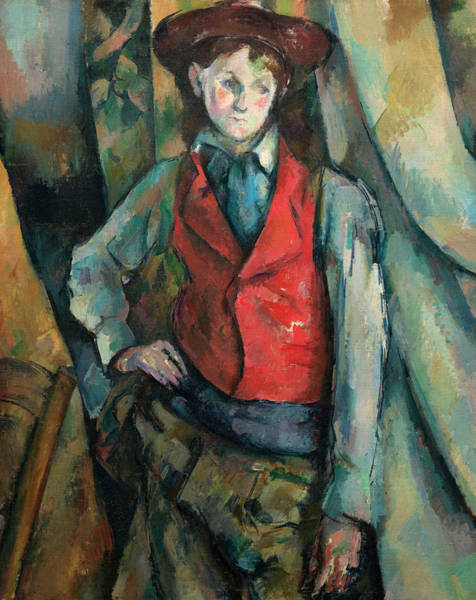 In Motion Painting - Boy In A Red Waistcoat by Paul Cezanne
