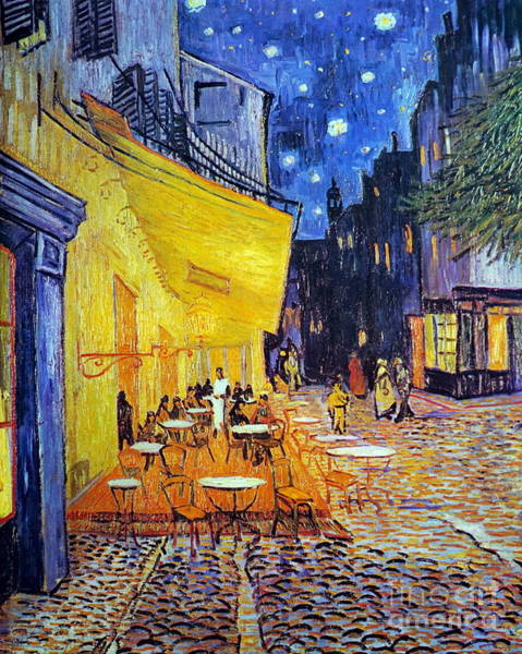 Bar Scene Painting -  Cafe Terrace At Night by Vincent Van Gogh