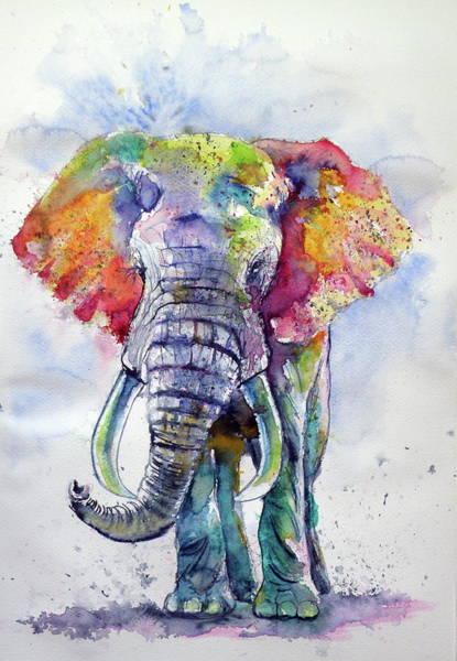 Wall Art - Painting - Colorful Elephant by Kovacs Anna Brigitta