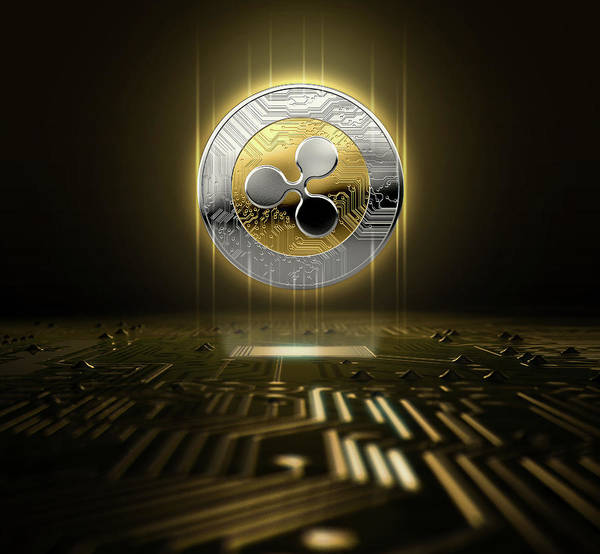 Ripples Digital Art - Cryptocurrency And Circuit Board by Allan Swart