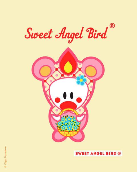 Cute Art - Sweet Angel Bird In A Pink Bear Costume Holding A Basket Of Little Blue Flowers Wall Art Print Art Print