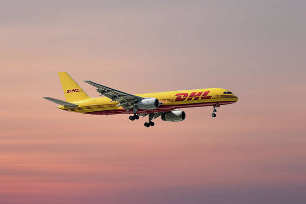 Wall Art - Mixed Media - Dhl Boeing 757-236 Pcf by Smart Aviation