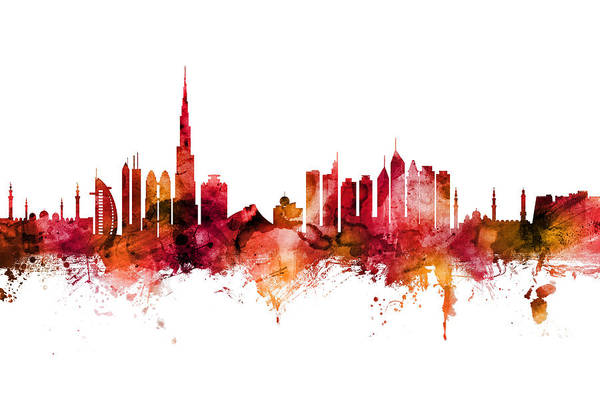 Arab Digital Art - Dubai Skyline by Michael Tompsett