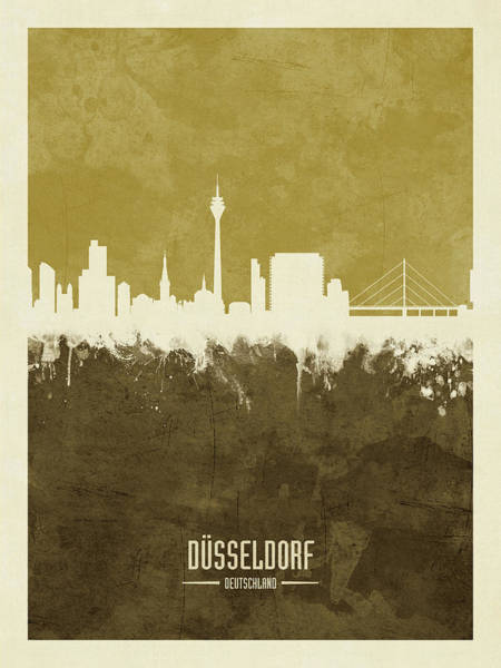 Wall Art - Digital Art - Dusseldorf Germany Skyline by Michael Tompsett