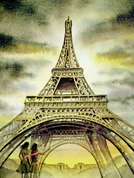 Two Friends Wall Art - Painting - Eiffel Tower Paris by Irina Sztukowski