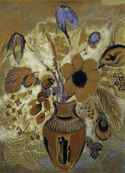 Painting - Etruscan Vase With Flowers -- by Odilon Redon
