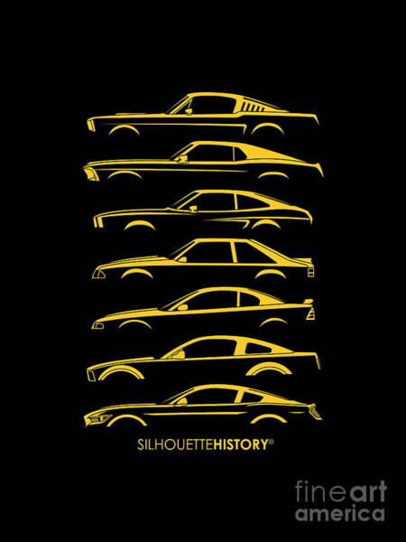 Wall Art - Digital Art - American Stallion Silhouettehistory Yellow by Gabor Vida