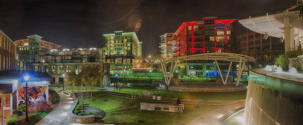 Photograph - Greenville South Carolina Near Falls Park River Walk At Nigth. by Alex Grichenko