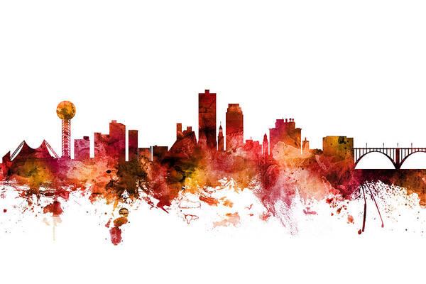 Wall Art - Digital Art - Knoxville Tennessee Skyline by Michael Tompsett