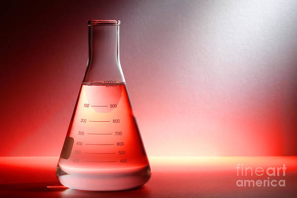 Flask Wall Art - Photograph - Laboratory Equipment In Science Research Lab by Olivier Le Queinec