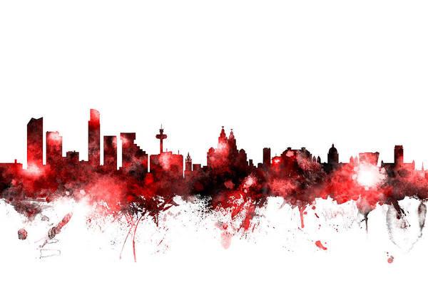 Liverpool Skyline Digital Art - Liverpool England Skyline by Michael Tompsett