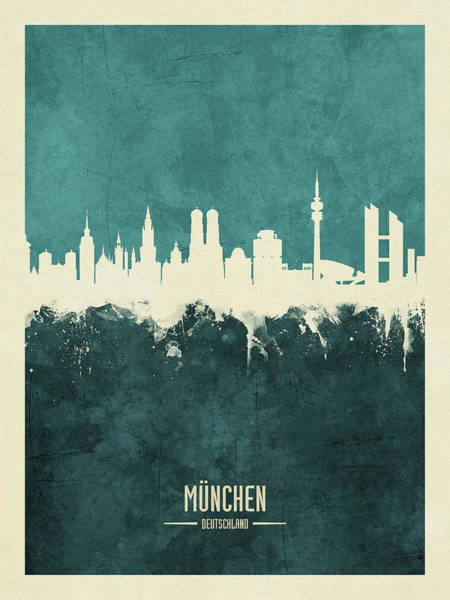 Wall Art - Digital Art - Munich Germany Skyline by Michael Tompsett