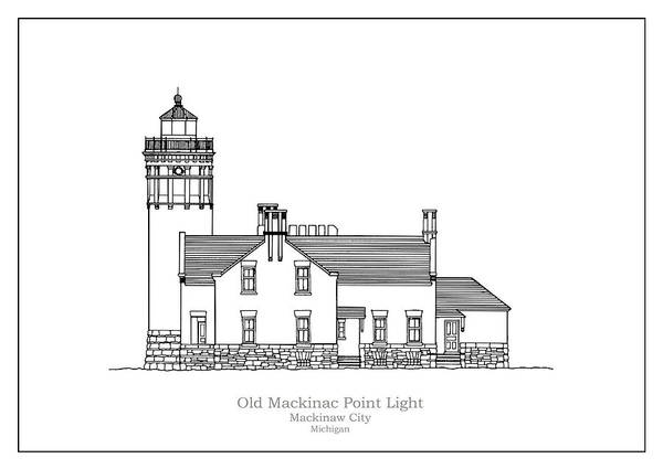 Wall Art - Drawing - Old Mackinac Point Lighthouse - Michigan - Blueprint Drawing by JESP Art and Decor