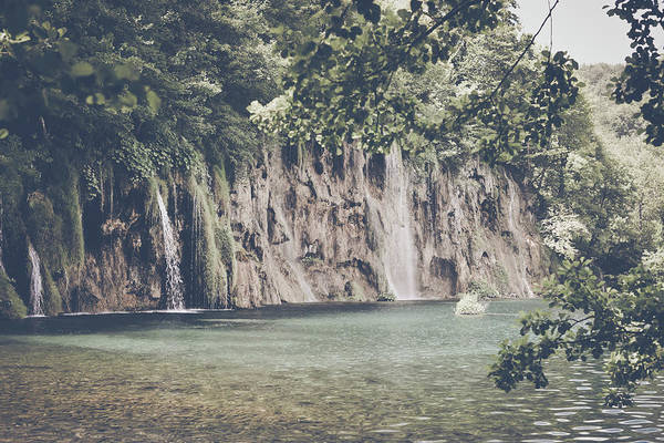 Photograph - Retro Waterfall With Sunlight With Vintage Instagram Film Effect by Brandon Bourdages