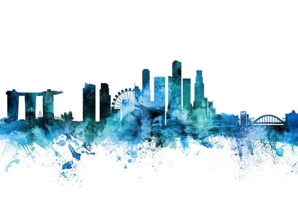 Wall Art - Digital Art - Singapore Skyline by Michael Tompsett