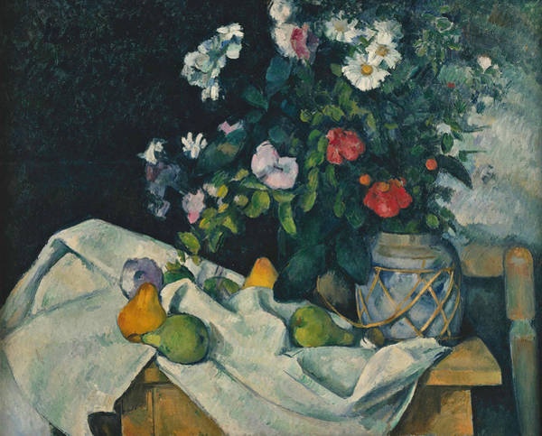 Cezanne Wall Art - Painting - Still Life With Flowers And Fruit by Paul Cezanne