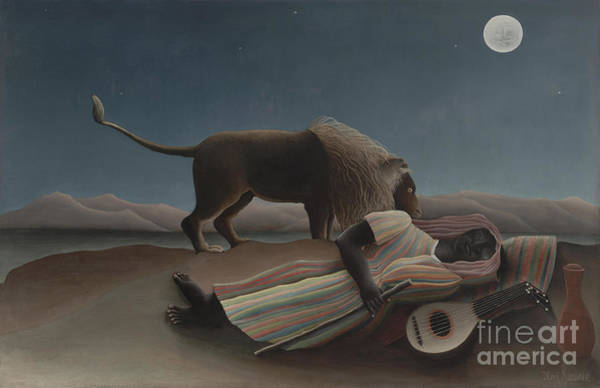 Full Moon Painting - The Sleeping Gypsy by Henri Rousseau
