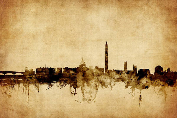 Wall Art - Digital Art - Washington Dc Skyline by Michael Tompsett