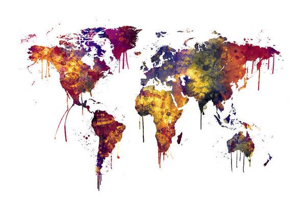 Wall Art - Digital Art - Watercolor Map Of The World Map by Michael Tompsett