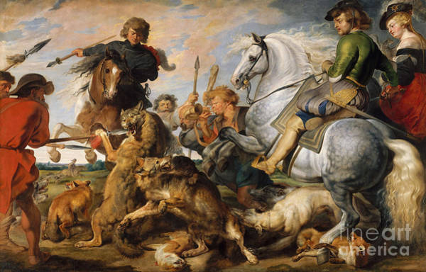 Wall Art - Painting - Wolf And Fox Hunt by Peter Paul Rubens