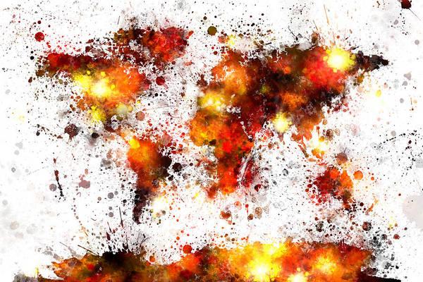 Countries Of The World Wall Art - Digital Art - World Map Paint Splashes by Michael Tompsett