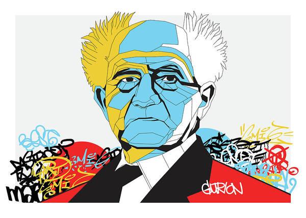 Judaica Digital Art - David Ben Gurion On Graffiti by Guy Sebbag