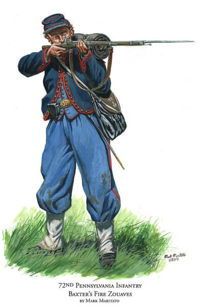 Wall Art - Painting - 72nd Pennsylvania Infantry - Baxter's Fire Zouaves  by Mark Maritato