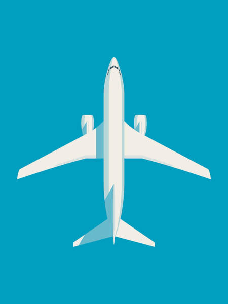 Aircraft Digital Art - 737 Passenger Jet Airliner Aircraft - Cyan by Ivan Krpan