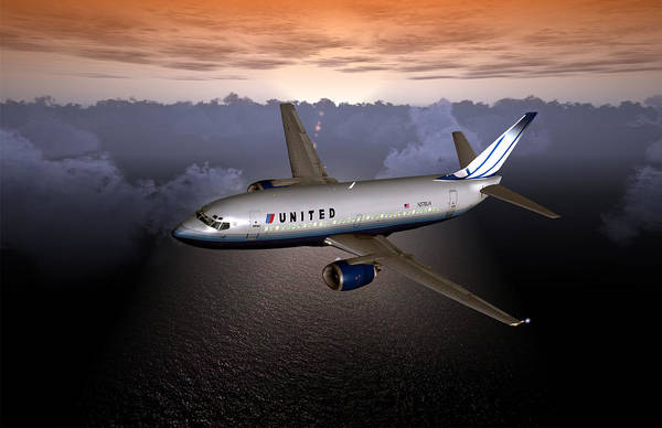 Digital Art - 737 Ual 06 by Mike Ray