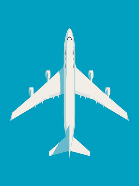 Aircraft Digital Art - 747 Jumbo Jet Airliner Aircraft - Cyan by Ivan Krpan