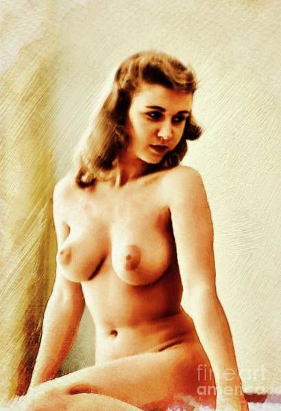 Bottom Painting - Vintage Pinup by Frank Falcon