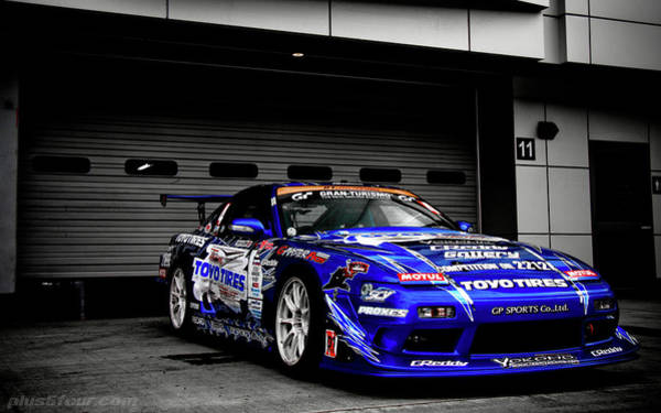 Nissan Digital Art - 7763 Nissan Tuning Race Cars Blue Cars Selective Coloring by Mery Moon