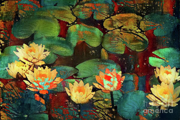 Wall Art - Digital Art - Jeweled Water Lilies by Amy Cicconi