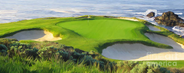 Pebble Painting - 7th Hole At Pebble Beach Hol by Tim Gilliland