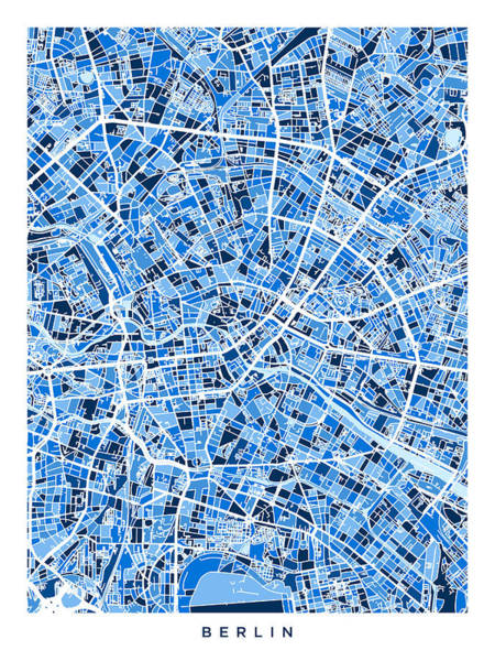 Wall Art - Digital Art - Berlin Germany City Map by Michael Tompsett