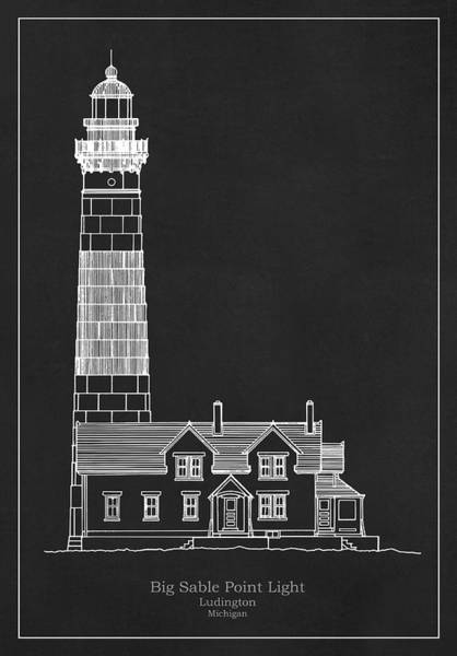 Wall Art - Drawing - Big Sable Point Light Aka Grand Point Au Sable Lighthouse - Michigan by JESP Art and Decor