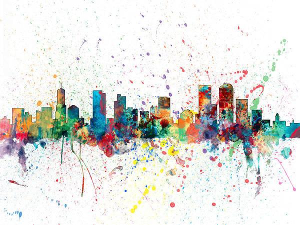 Colorado Digital Art - Denver Colorado Skyline by Michael Tompsett