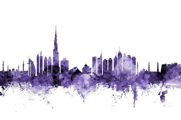 Purple Digital Art - Dubai Skyline by Michael Tompsett