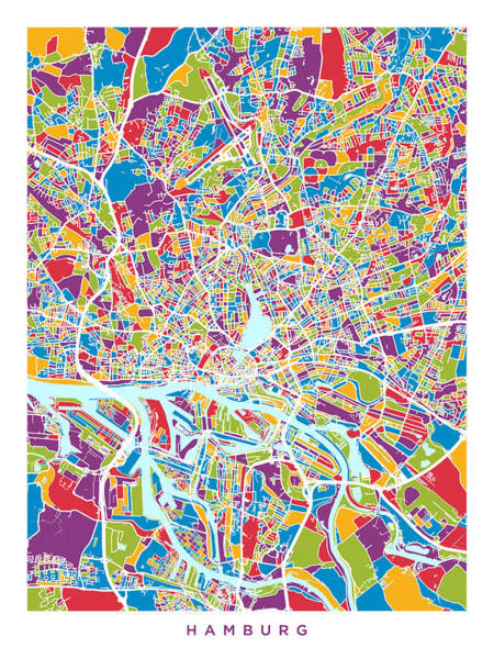 Wall Art - Digital Art - Hamburg Germany City Map by Michael Tompsett