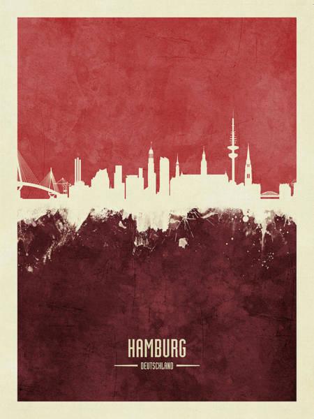 Wall Art - Digital Art - Hamburg Germany Skyline by Michael Tompsett